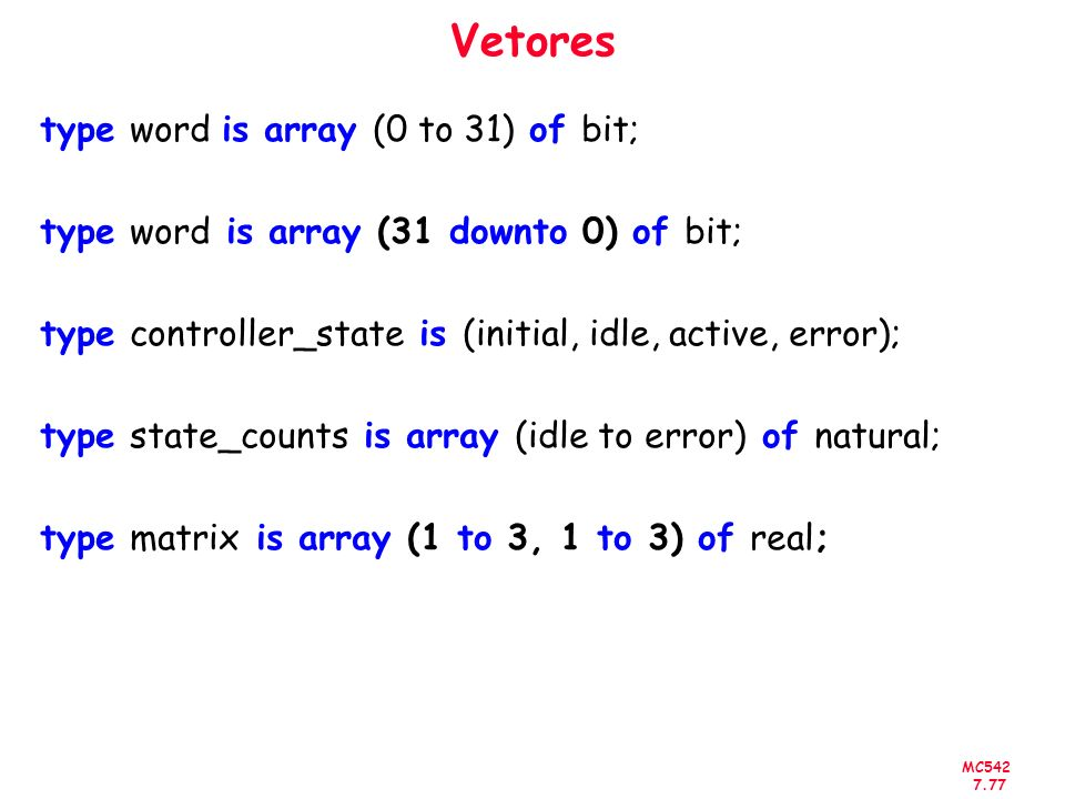 Vetores type word is array (0 to 31) of bit;