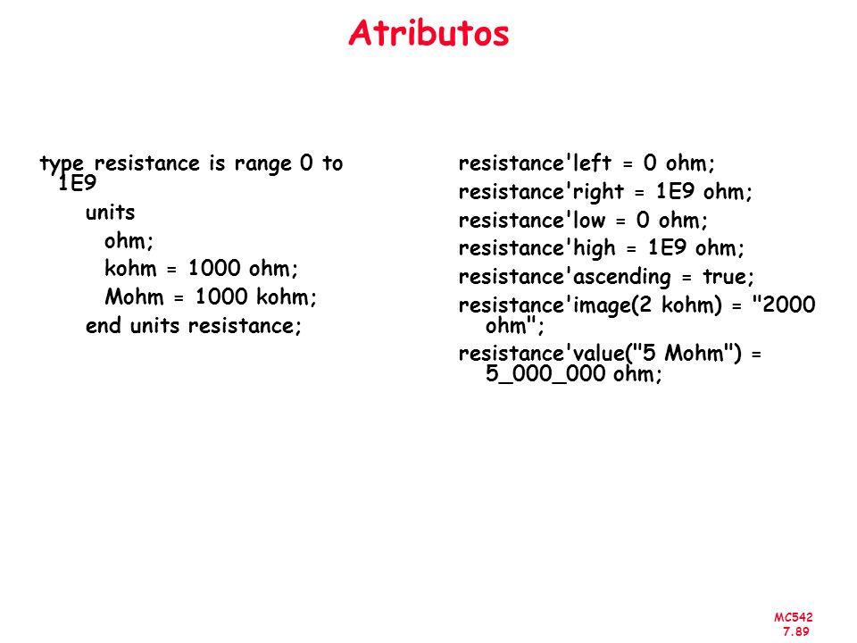 Atributos type resistance is range 0 to 1E9 units ohm;