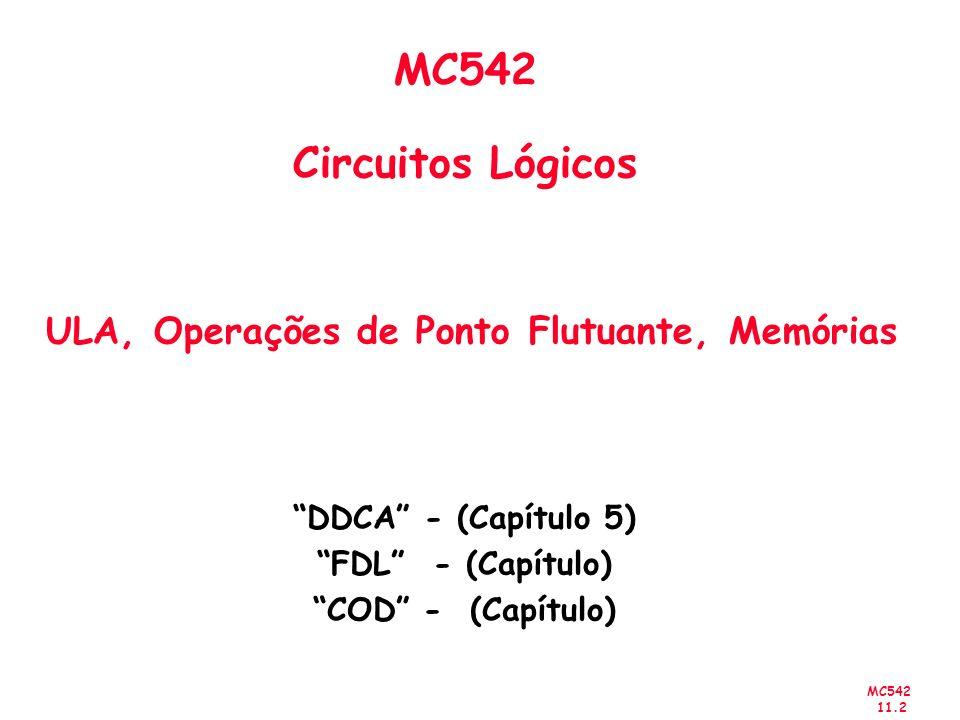 MC542 Circuitos Lógicos ULA, Operações de Ponto Flutuante, Memórias