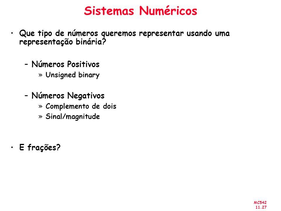 Sistemas Numéricos Que tipo de números queremos representar usando uma representação binária Números Positivos.