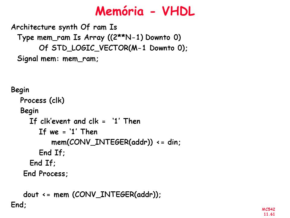 Memória - VHDL Architecture synth Of ram Is