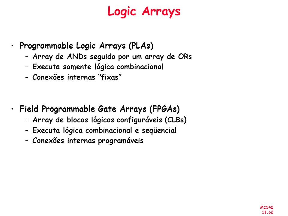 Logic Arrays Programmable Logic Arrays (PLAs)