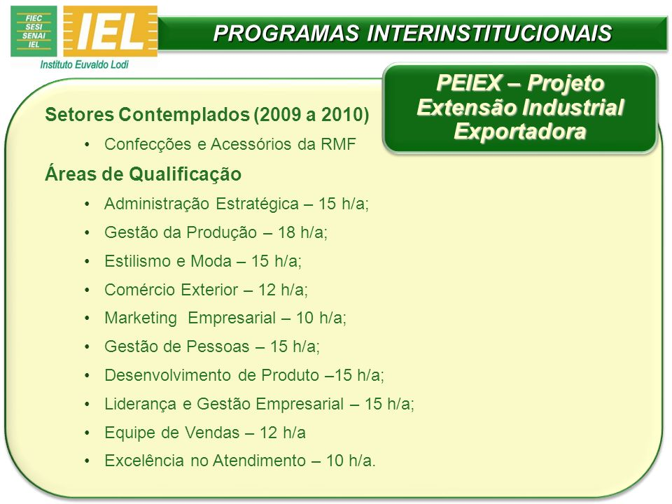 PROGRAMAS INTERINSTITUCIONAIS