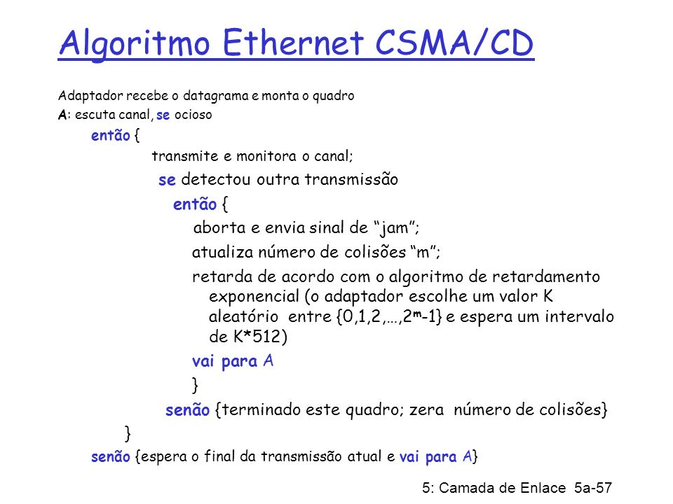 Algoritmo Ethernet CSMA/CD