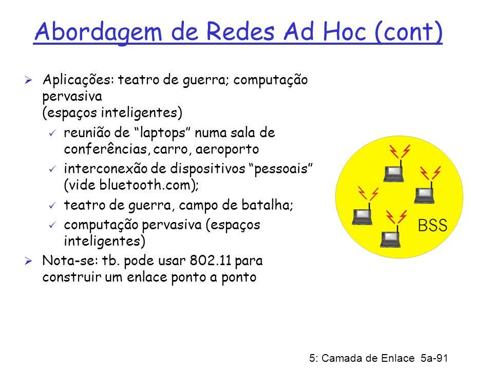 Abordagem de Redes Ad Hoc (cont)