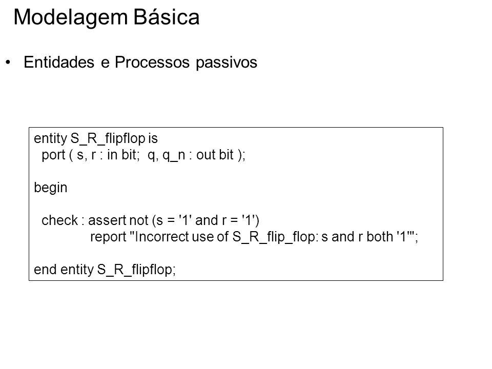 Modelagem Básica Entidades e Processos passivos entity S_R_flipflop is