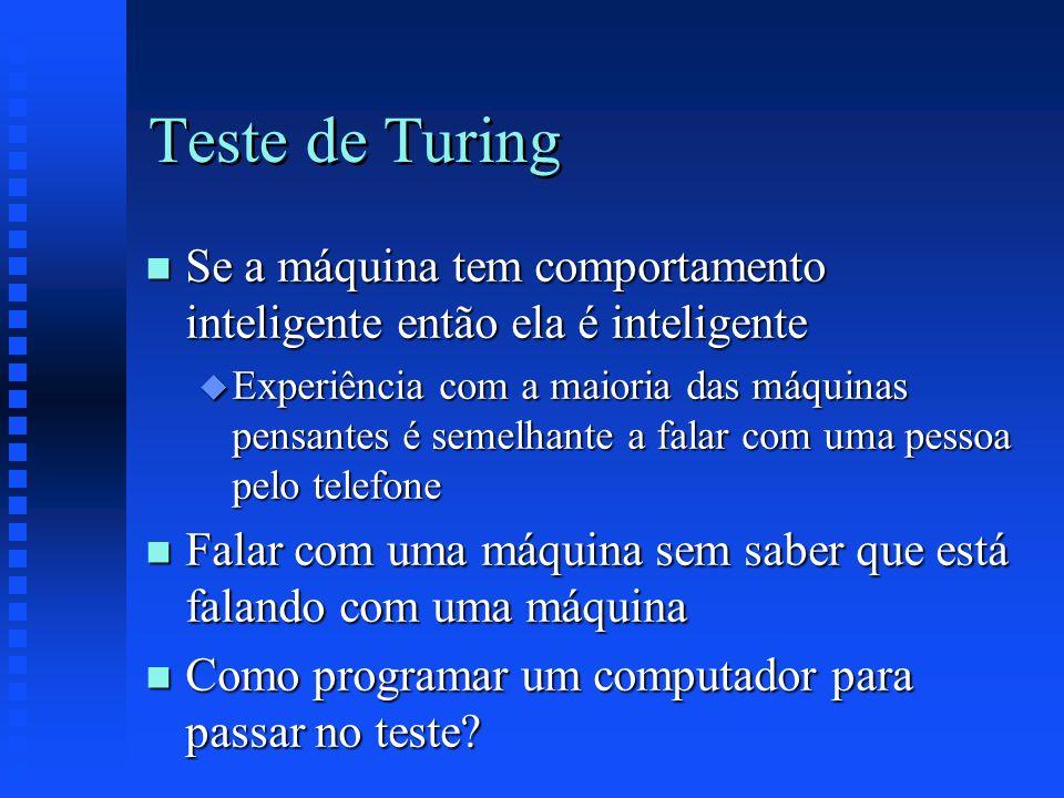 Teste de Turing Se a máquina tem comportamento inteligente então ela é inteligente.