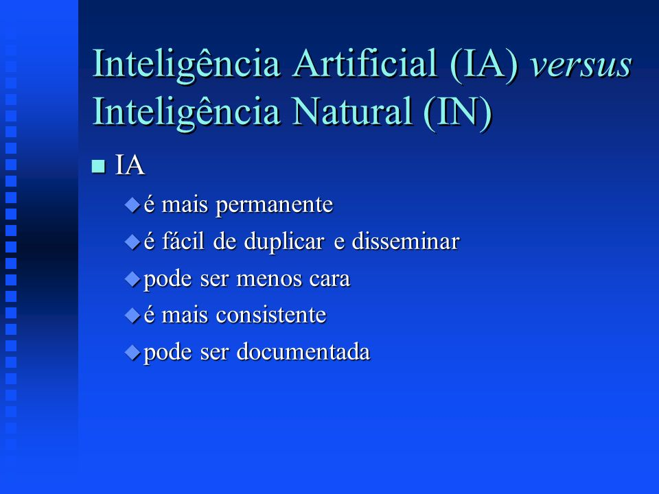 Inteligência Artificial (IA) versus Inteligência Natural (IN)