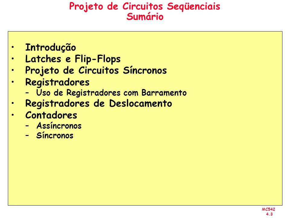 Projeto de Circuitos Seqüenciais Sumário