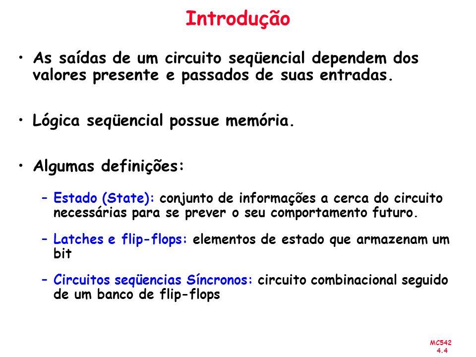 Introdução As saídas de um circuito seqüencial dependem dos valores presente e passados de suas entradas.