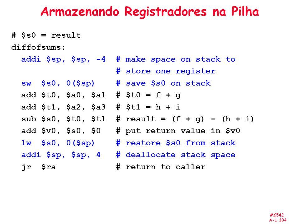 Armazenando Registradores na Pilha