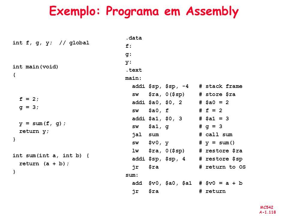 Exemplo: Programa em Assembly