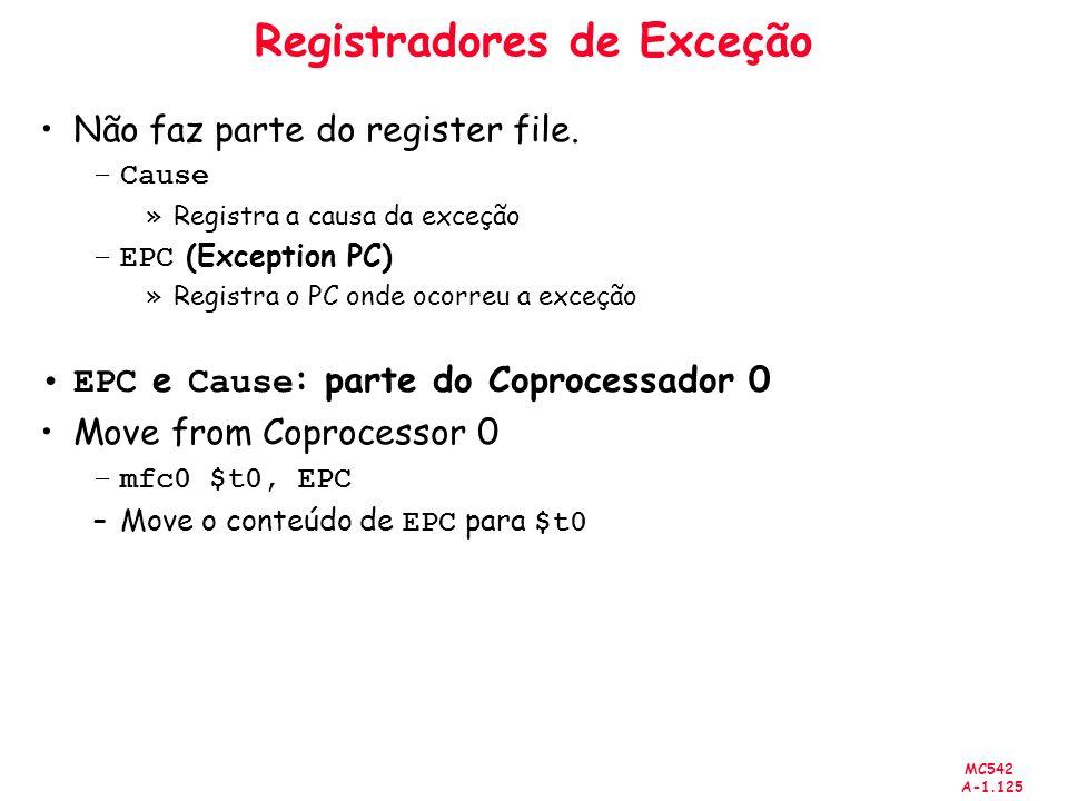 Registradores de Exceção