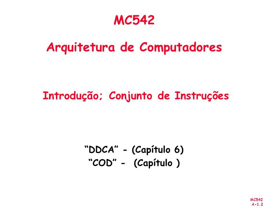 MC542 Arquitetura de Computadores Introdução; Conjunto de Instruções