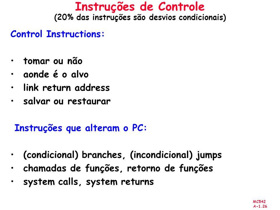 Instruções de Controle (20% das instruções são desvios condicionais)