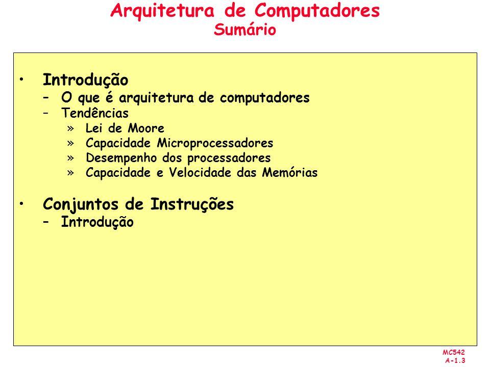 Arquitetura de Computadores Sumário