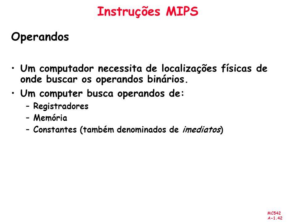 Instruções MIPS Operandos