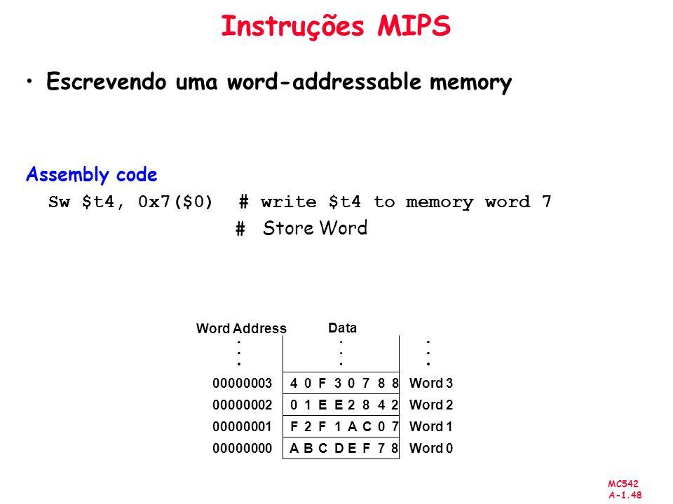 Instruções MIPS Escrevendo uma word-addressable memory Assembly code