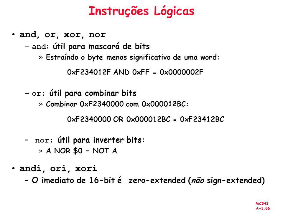 Instruções Lógicas and, or, xor, nor andi, ori, xori