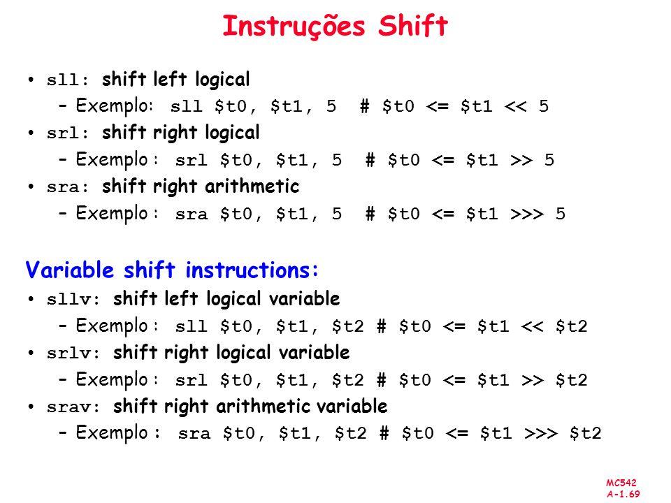 Instruções Shift Variable shift instructions: sll: shift left logical