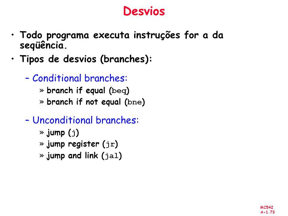 Desvios Todo programa executa instruções for a da seqüência.
