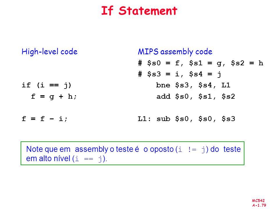 If Statement High-level code if (i == j) f = g + h; f = f – i;