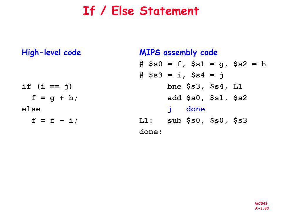 If / Else Statement High-level code if (i == j) f = g + h; else