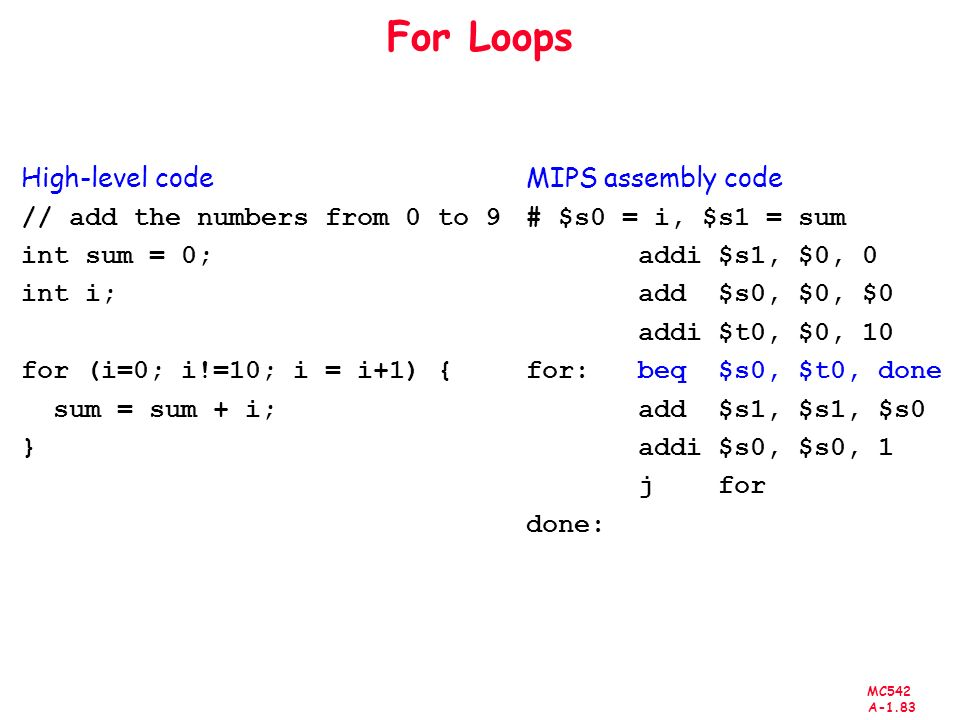 For Loops High-level code // add the numbers from 0 to 9 int sum = 0;