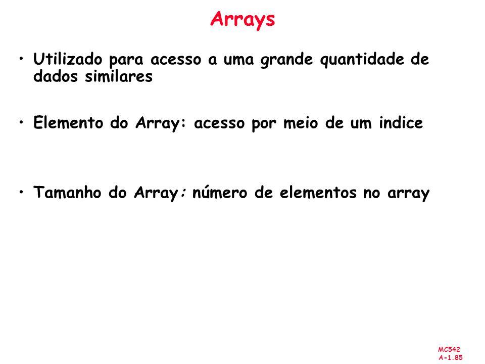 Arrays Utilizado para acesso a uma grande quantidade de dados similares. Elemento do Array: acesso por meio de um indice.