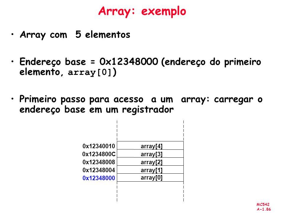 Array: exemplo Array com 5 elementos