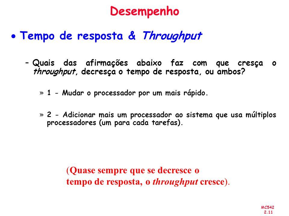 Desempenho Tempo de resposta & Throughput