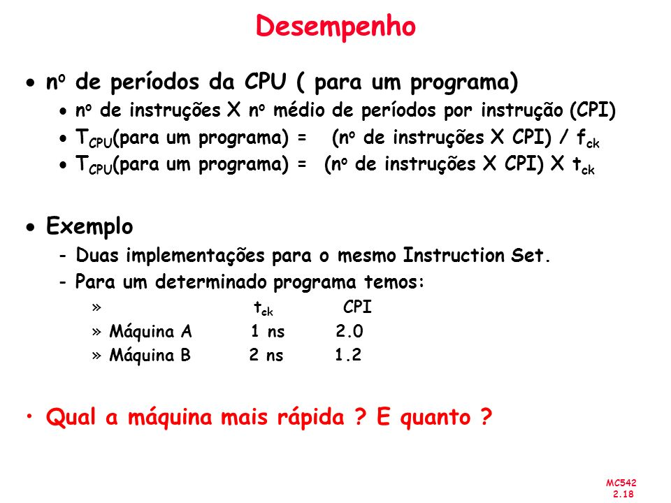 Desempenho no de períodos da CPU ( para um programa) Exemplo
