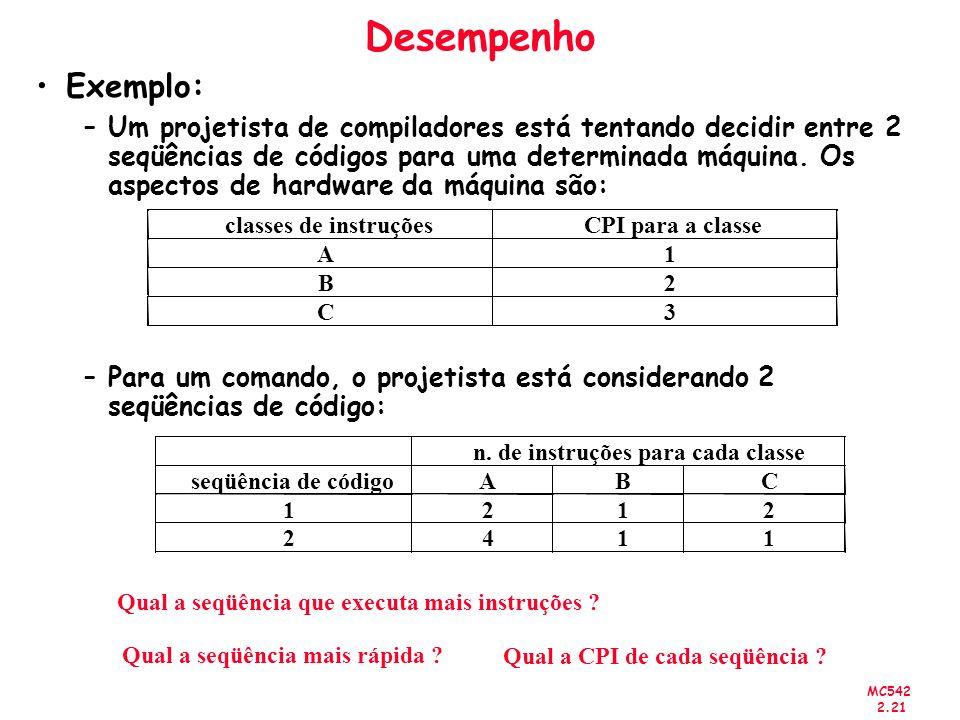 n. de instruções para cada classe