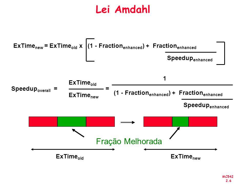 Lei Amdahl ExTimenew = ExTimeold x (1 - Fractionenhanced) + Fractionenhanced. Speedupenhanced. 1.