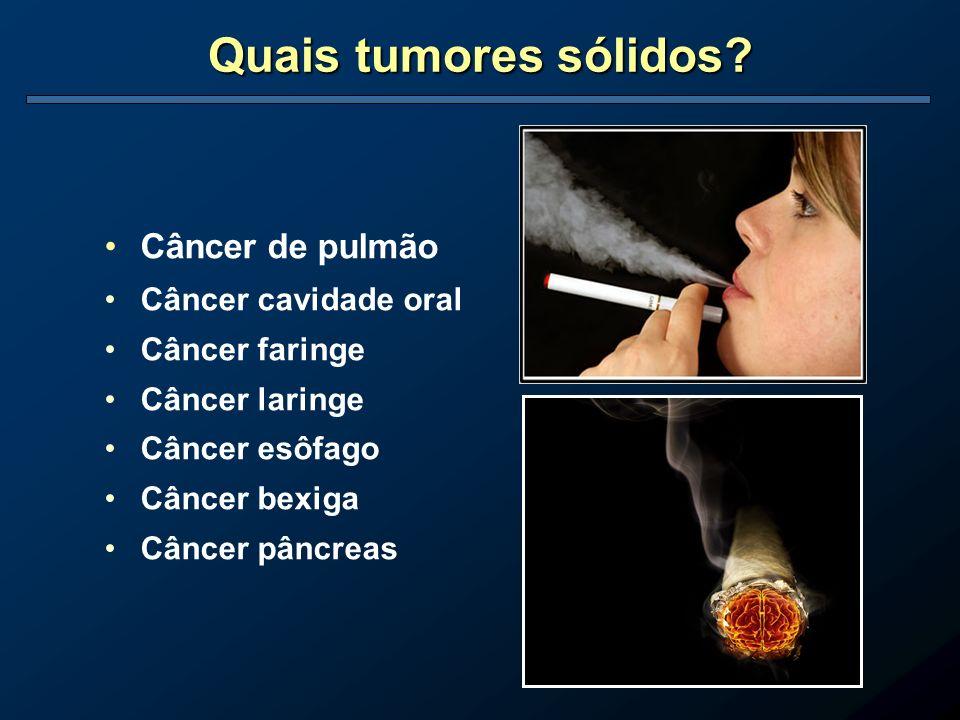 Quais tumores sólidos Câncer de pulmão Câncer cavidade oral