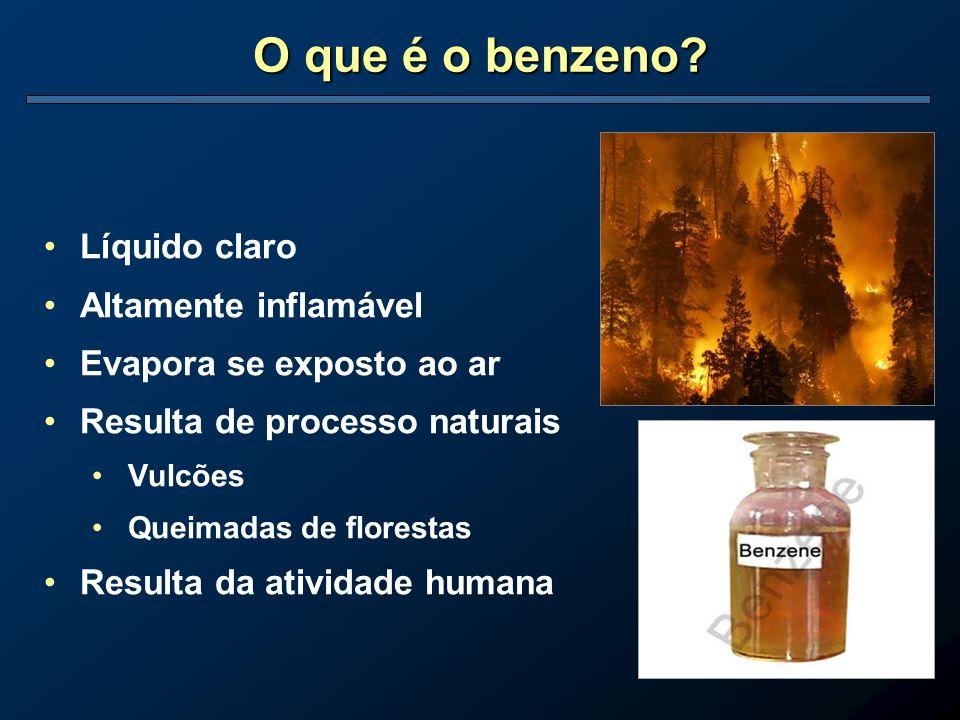 O que é o benzeno Líquido claro Altamente inflamável
