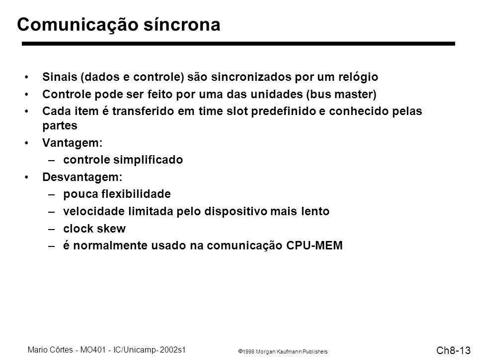 Comunicação síncrona Sinais (dados e controle) são sincronizados por um relógio. Controle pode ser feito por uma das unidades (bus master)