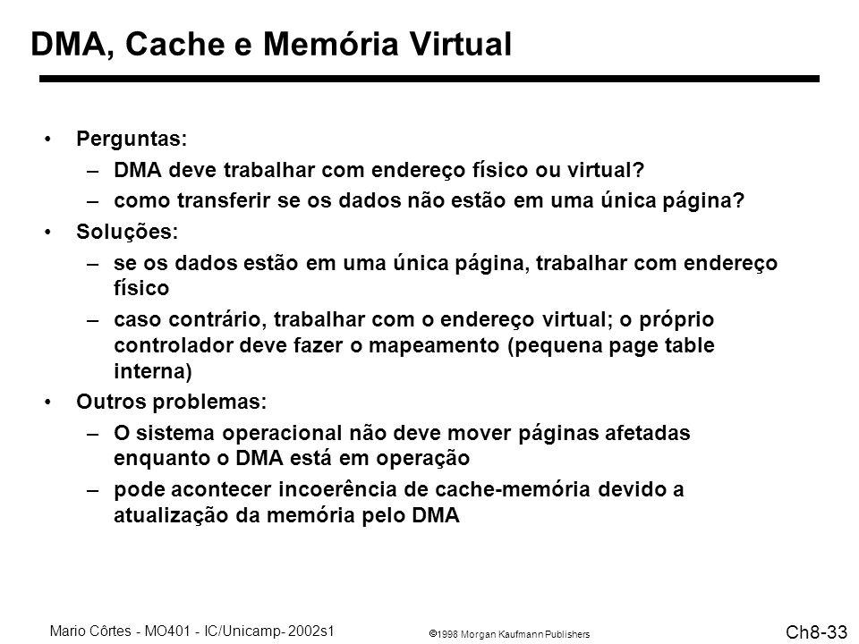 DMA, Cache e Memória Virtual