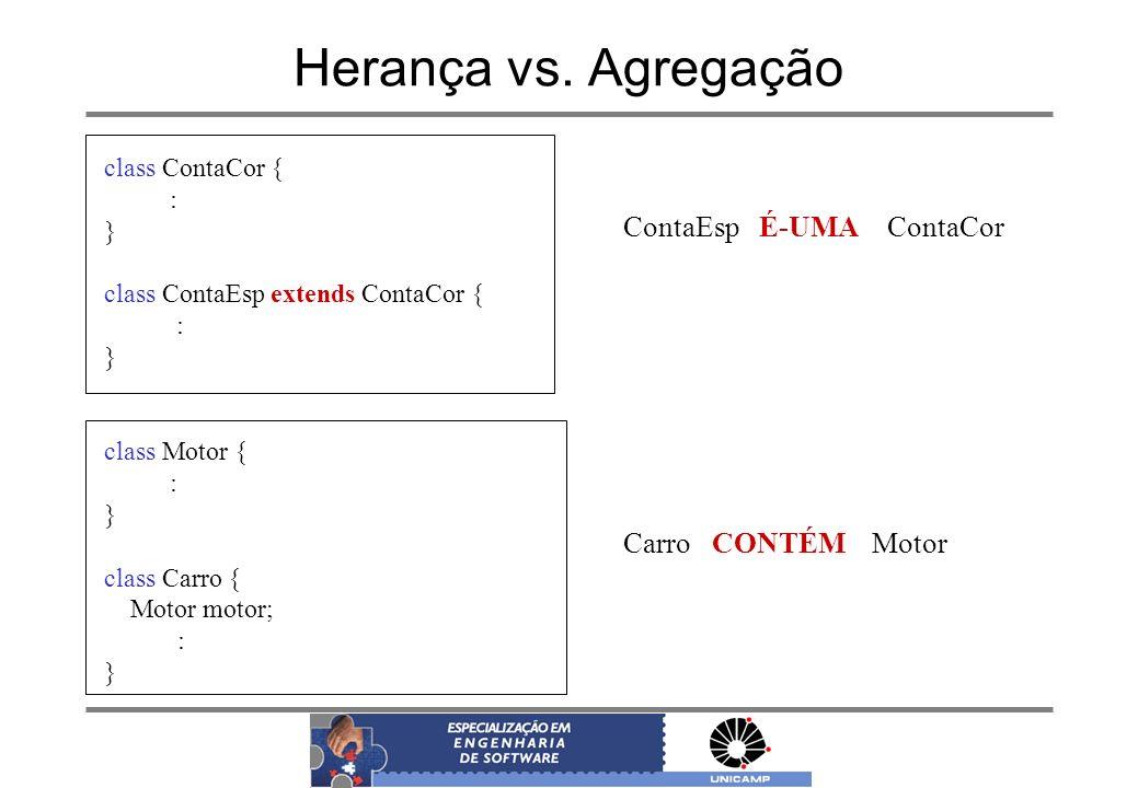 Herança vs. Agregação ContaEsp É-UMA ContaCor Carro CONTÉM Motor