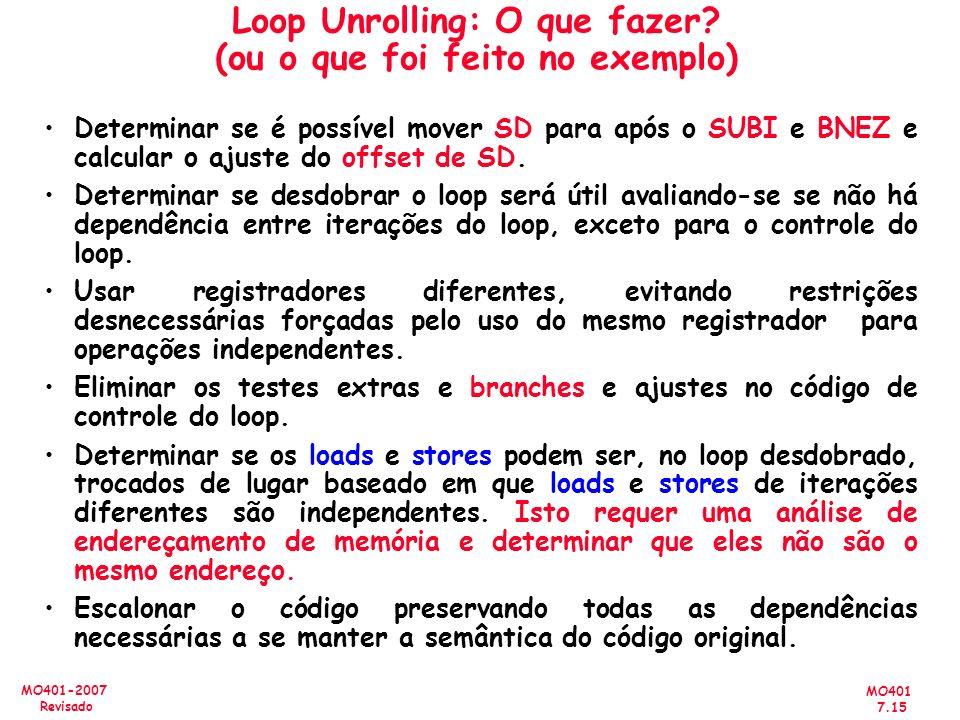 Loop Unrolling: O que fazer (ou o que foi feito no exemplo)