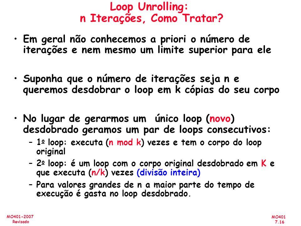 Loop Unrolling: n Iterações, Como Tratar