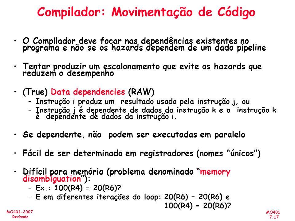 Compilador: Movimentação de Código