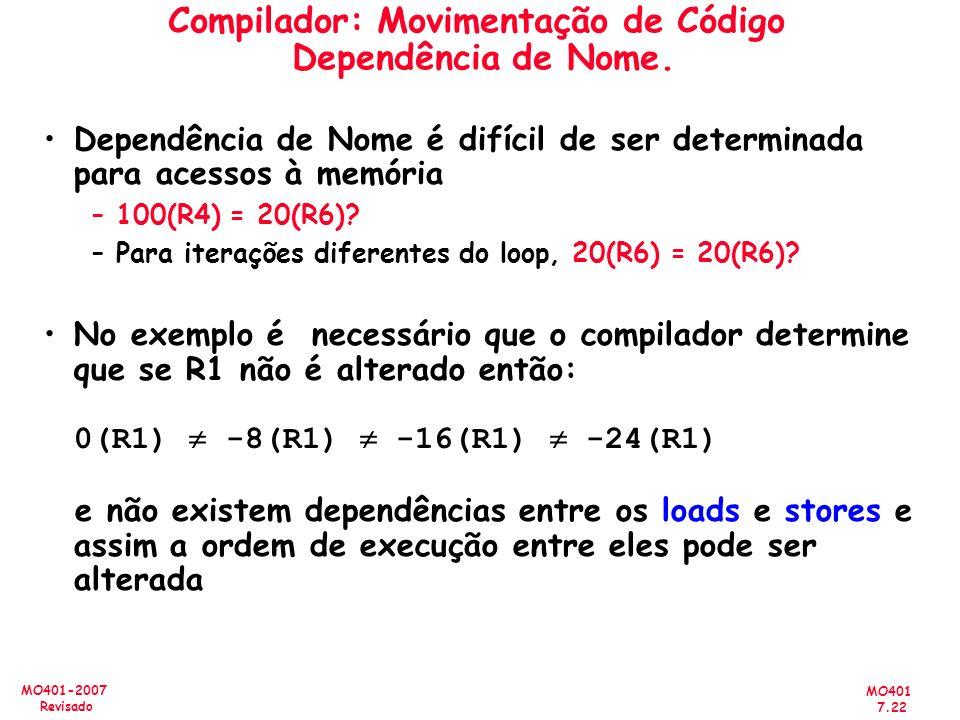 Compilador: Movimentação de Código Dependência de Nome.