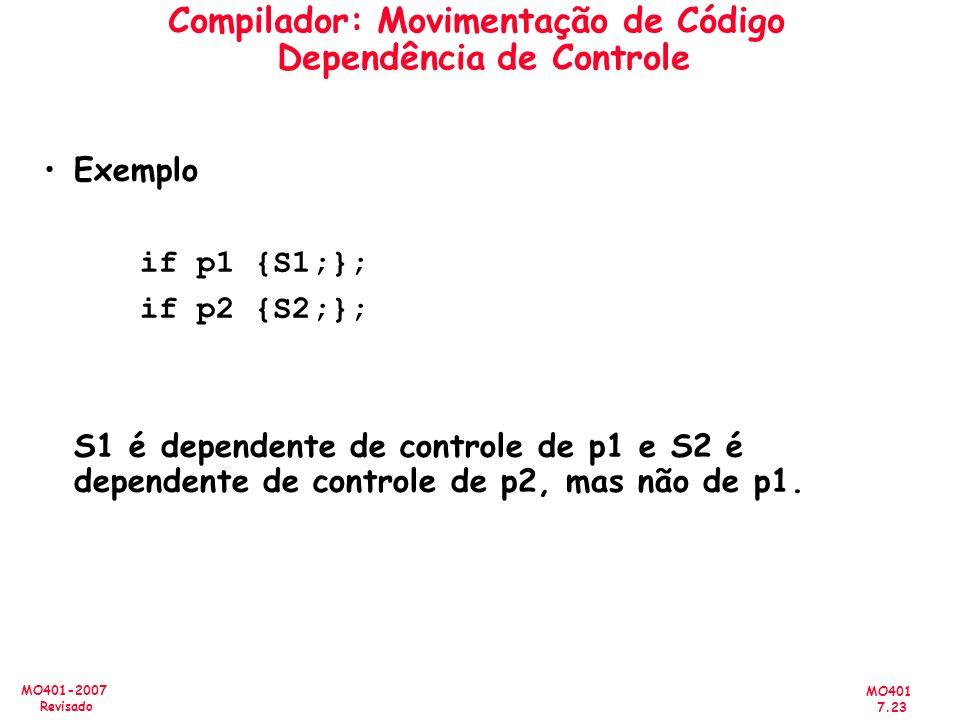 Compilador: Movimentação de Código Dependência de Controle