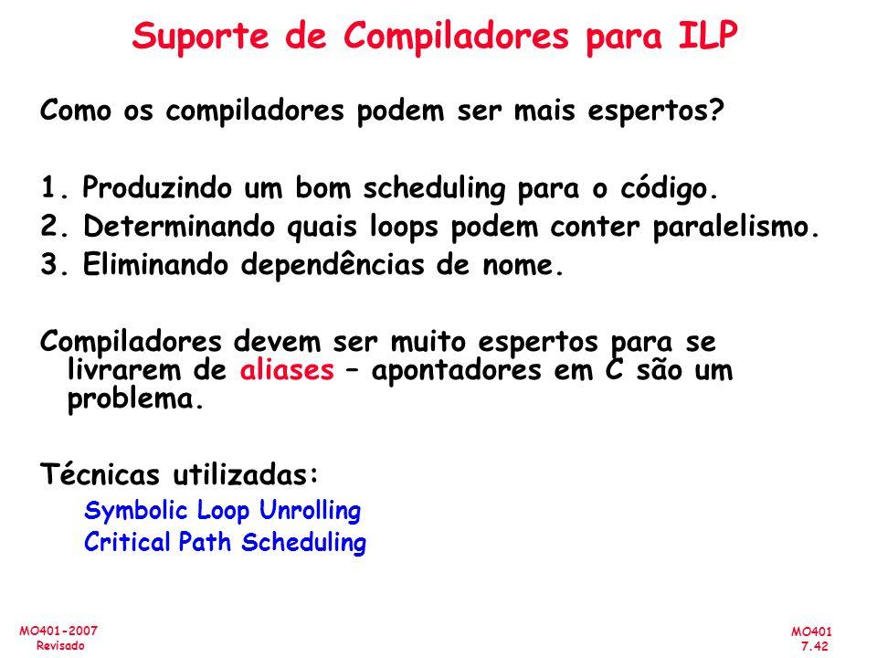 Suporte de Compiladores para ILP