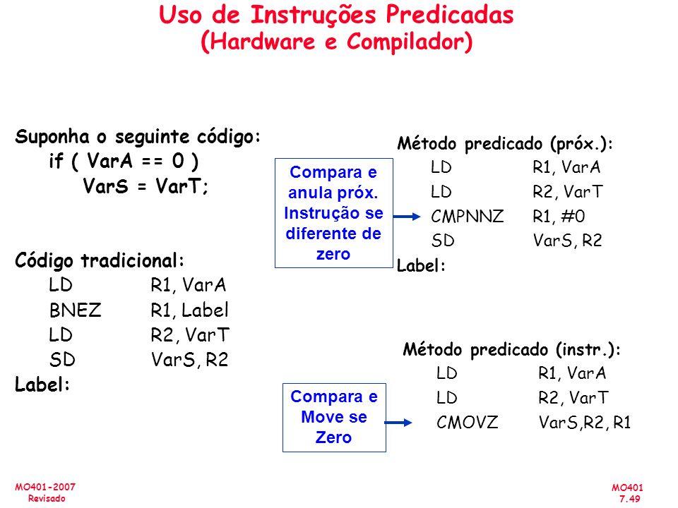Uso de Instruções Predicadas (Hardware e Compilador)