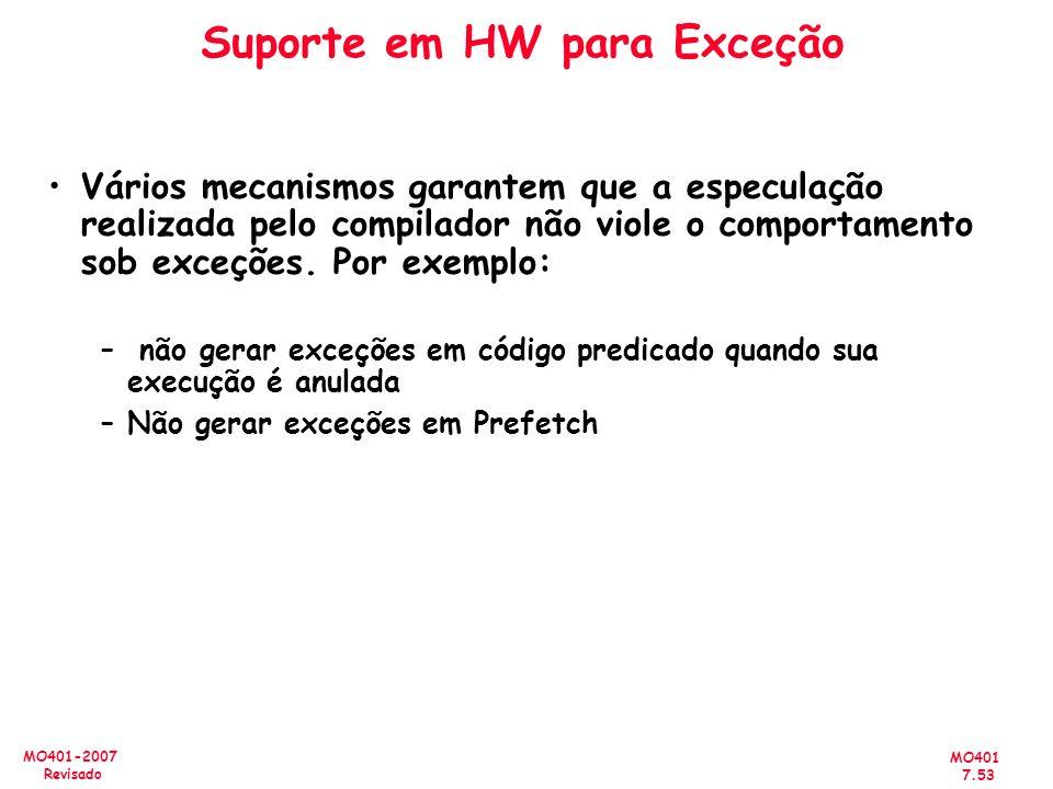 Suporte em HW para Exceção