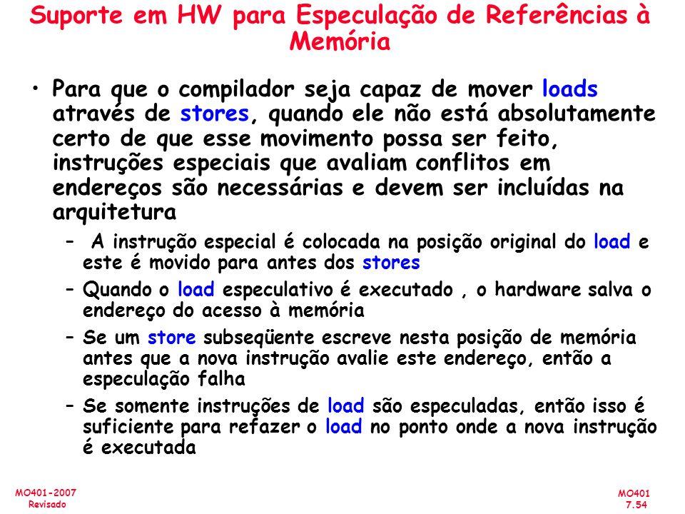 Suporte em HW para Especulação de Referências à Memória