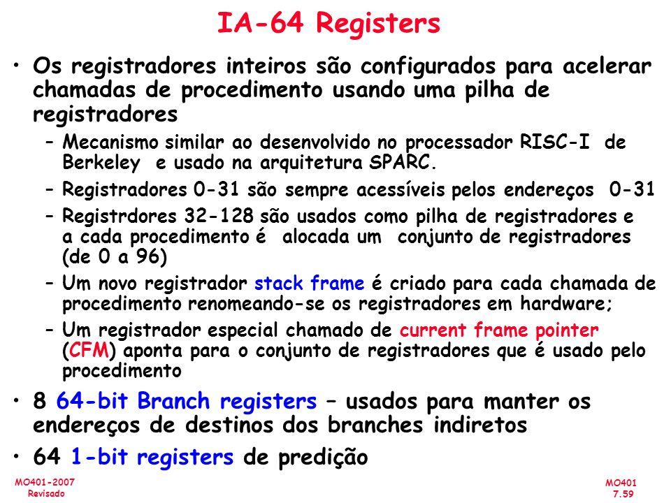 IA-64 Registers Os registradores inteiros são configurados para acelerar chamadas de procedimento usando uma pilha de registradores.