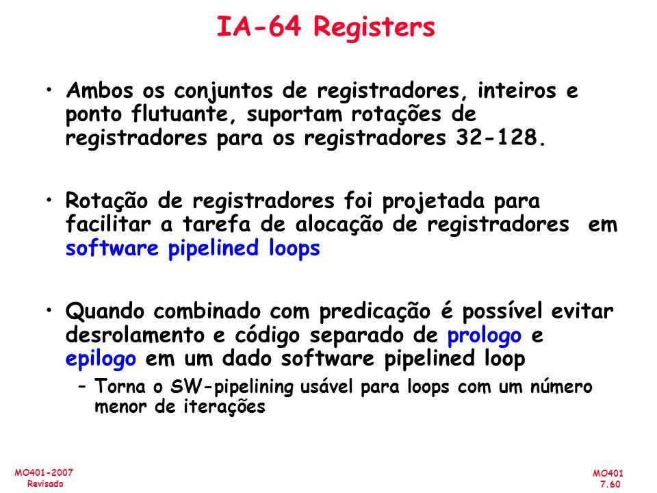 IA-64 Registers Ambos os conjuntos de registradores, inteiros e ponto flutuante, suportam rotações de registradores para os registradores 32-128.